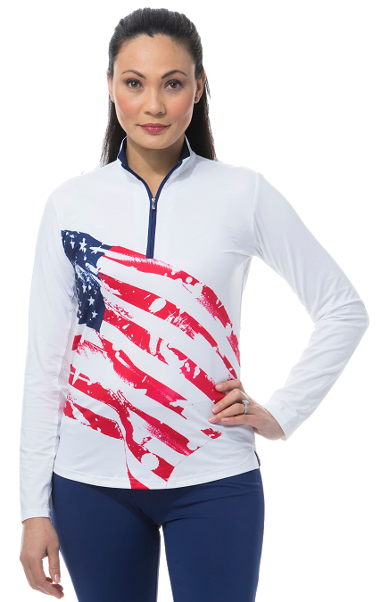 900463 - SolCool Zip Mock. American Flag.