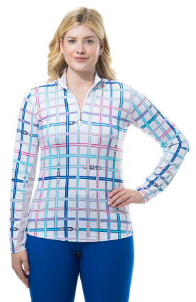 SANSOLEIL SOLCOOL PRINT MOCK. GROSGRAIN PLAID. PINK AND BLUE. 900463