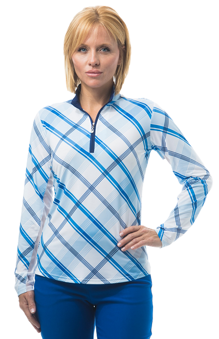 900463 SOLCOOL PRINT MOCK. HOP SCOTCH BLUE