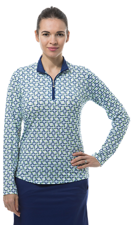 900463 SOLCOOL PRINT MOCK. Quad. Navy