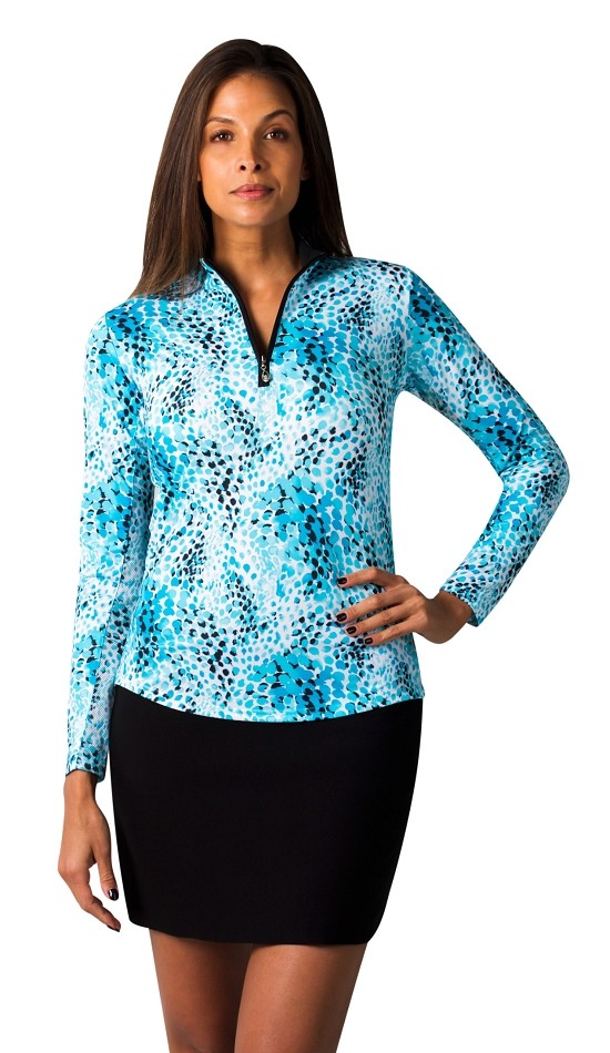 900463 SanSoleil SolCool Print Zip Mock. Wildcat Blue