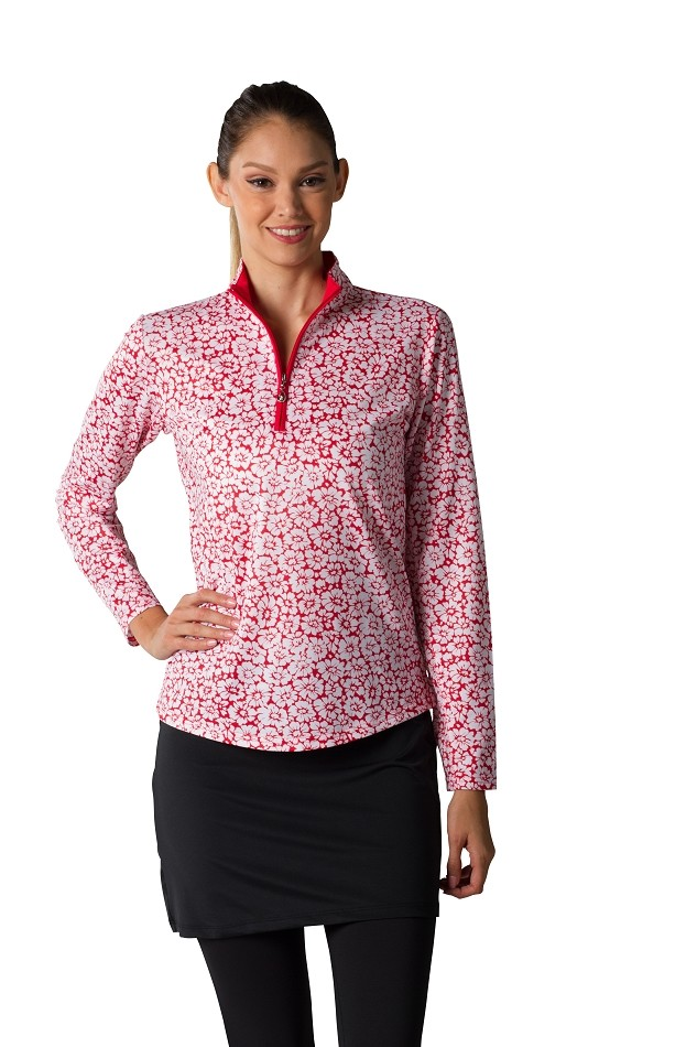900463 SanSoleil SolCool Print Zip Mock.  Daisy Red