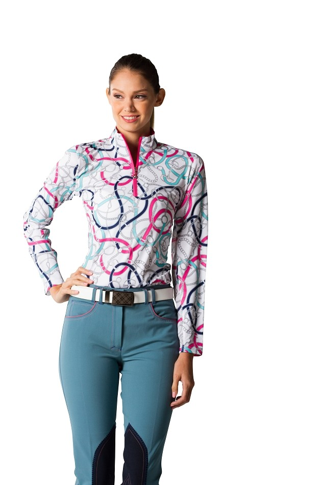 900463 SanSoleil SolCool Print Zip Mock. Unbridled Pink
