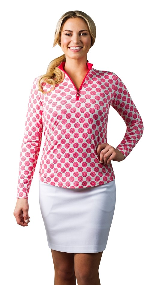 900463 SanSoleil SolCool Print Zip Mock.  Seeing Spots Pink and White