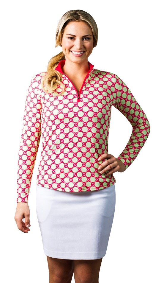 900463 SanSoleil SolCool Print Zip Mock.  Seeing Spots Pink and Lime