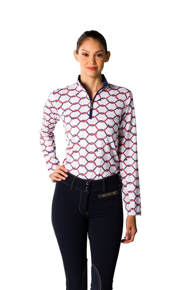 900463 SolCool Print Zip Mock. What Knot. Navy and Red