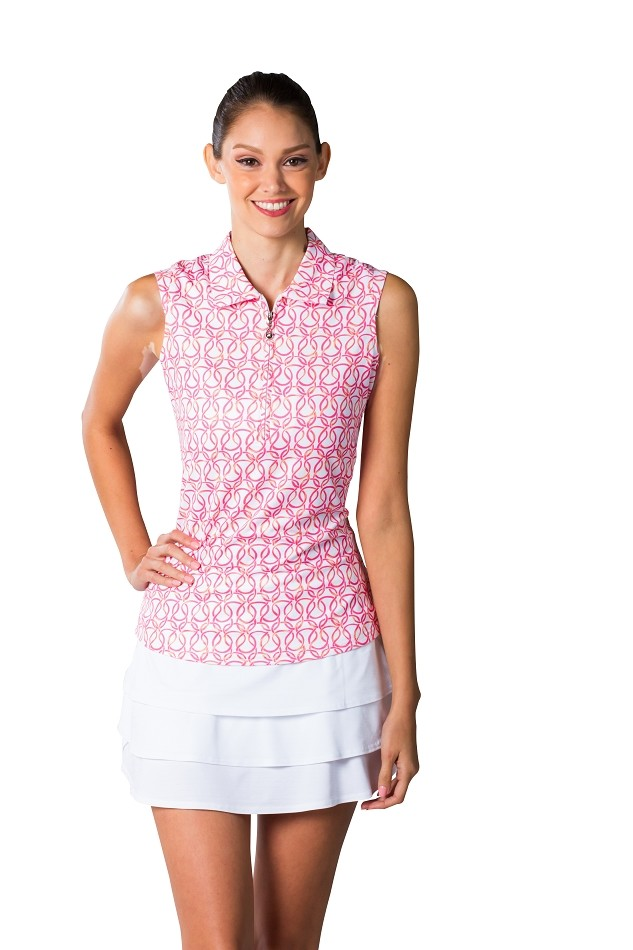 900431 Sleeveless Polo. Looped Pink