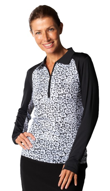 900468 SanSoleil Printed SolCool Color Block Polo.  Daisy Black