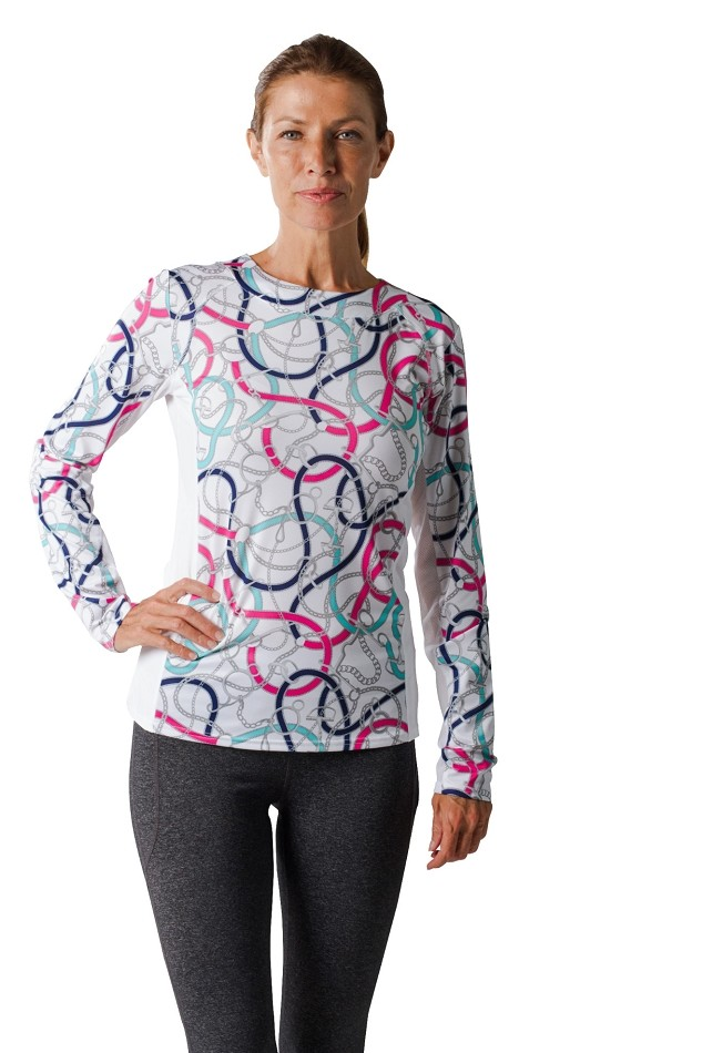 900470 SunGlow Color Block Crew Neck. Unbridled Pink