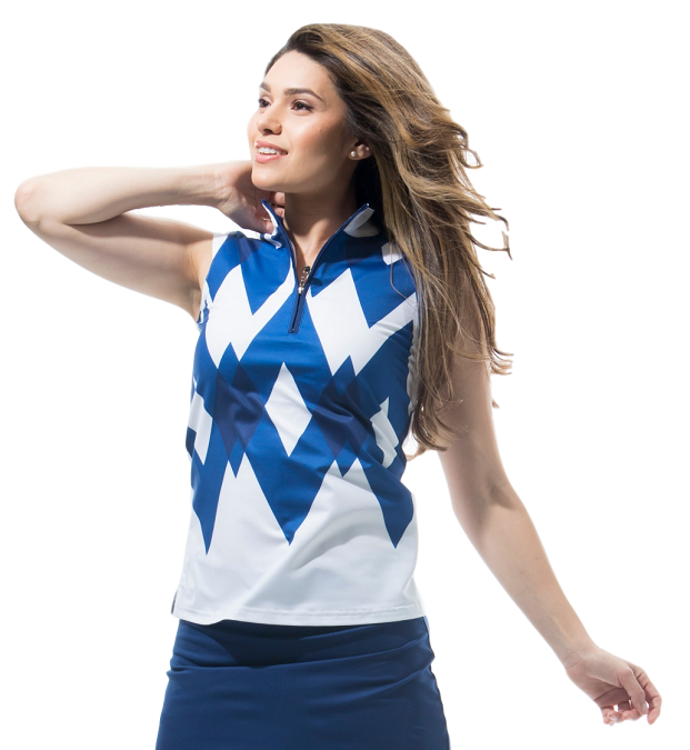 900471 SOLCOOL SLEEVELESS MOCK. Gatsby. Navy White