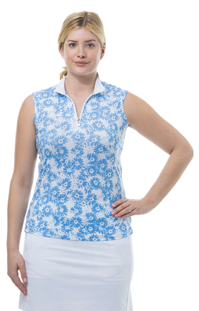 900471 SOLCOOL SLEEVELESS MOCK. Lazy Daisy. Cornflower Flower