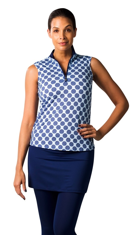 900471 SolCool Sleeveless Polo. Seeing Spots White with Navy Spots