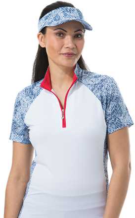 900477 SOLCOOL SHORT SLEEVE MOCK - Gabby. Navy
