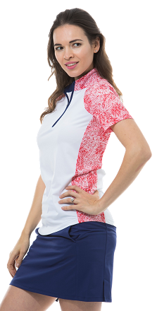 900477 SOLCOOL SHORT SLEEVE MOCK - Gabby. Red