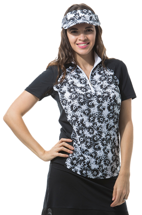 900477 SOLCOOL SHORT SLEEVE MOCK - Lazy Daisy. Black