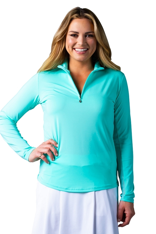 900434 SanSoleil SunGlow Zip Mock. Bermuda Green