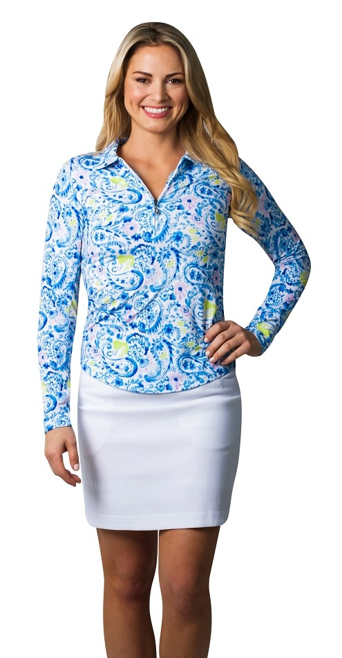 900610 SanSoleil SolTek Ice Print Zip Polo.  Savanah Blue