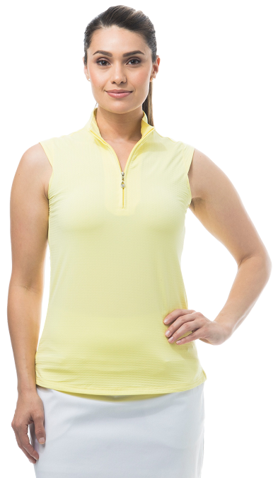 900617 SOLTEKICE SLEEVELESS MOCK. Lemon Zest
