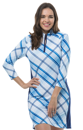 900721. SanSoleil SolStyle Cool. 3/4 Sleeve Zip Mock Dress. Hop Scotch. Blue