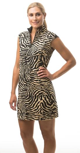 900722I. SanSoleil SolStyle ICE. Sleeveless Zip Mock Dress. Cheetah Black