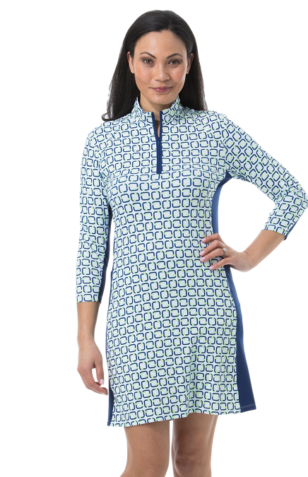 900721. SanSoleil SolStyle Cool. 3/4 Sleeve Zip Mock Dress. Quad. Navy