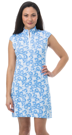 900722C. SanSoleil SolStyle Cool. Sleeveless Zip Mock Dress. Lazy Daisy. Cornflower Blue