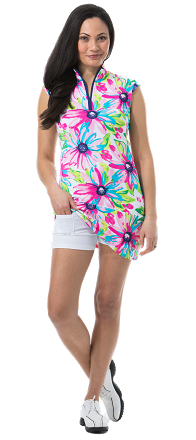 900722I. SanSoleil SolStyle ICE. Sleeveless Zip Mock Dress. Dilli Dahlia