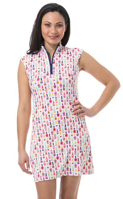 900722I. SanSoleil SolStyle ICE. Sleeveless Zip Mock Dress. Vineyard