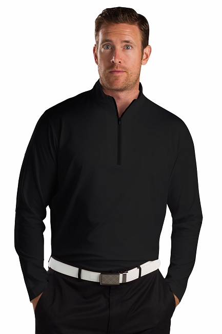 900821 SanSoleil Men's Solcool Long Sleeve Zip Mock With Mesh-Black