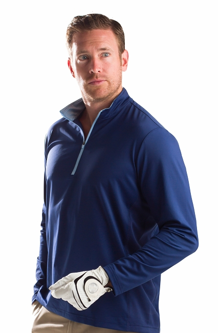 900821 SanSoleil Men's Solcool Long Sleeve Zip Mock With Mesh-Midnight Blue