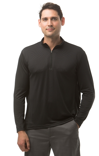 900821S SanSoleil Men's Solcool Long Sleeve Zip Mock With Mesh-Black Grey Stripe
