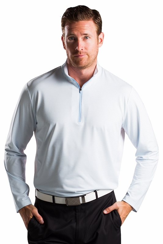 900821S Sansoleil Men'S Solcool Stripe Long Sleeve Zip Mock With Mesh. White With Sky Blue Stripe