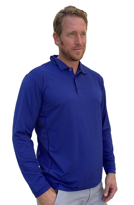 900824C SanSoleil Men's Solcool Long Sleeve Button Polo-Submarine Blue