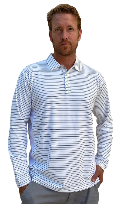 900824S SanSoleil Men's Solcool Long Sleeve Stripe Button Polo-White with Submarine Blue Stripe