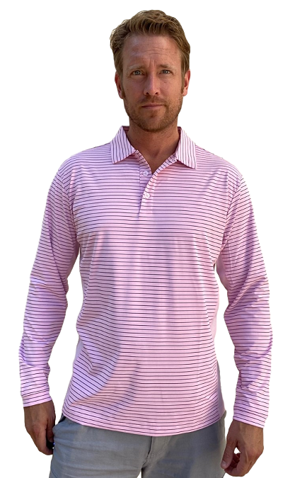 900824S SanSoleil Men's Solcool Long Sleeve Stripe Button Polo - Pink with Submarine Blue Stripe