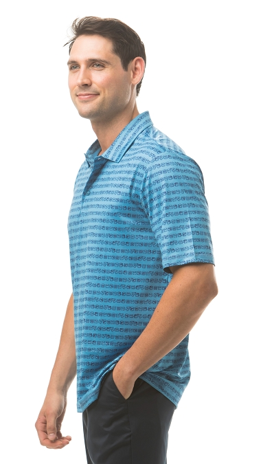 900828 Men's SolSport Button Print Polo. Low Ball