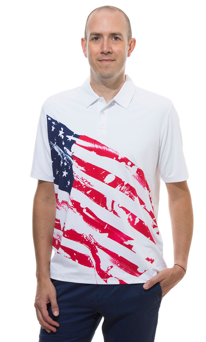900828 Men's SolSport Button Print Polo. Americana
