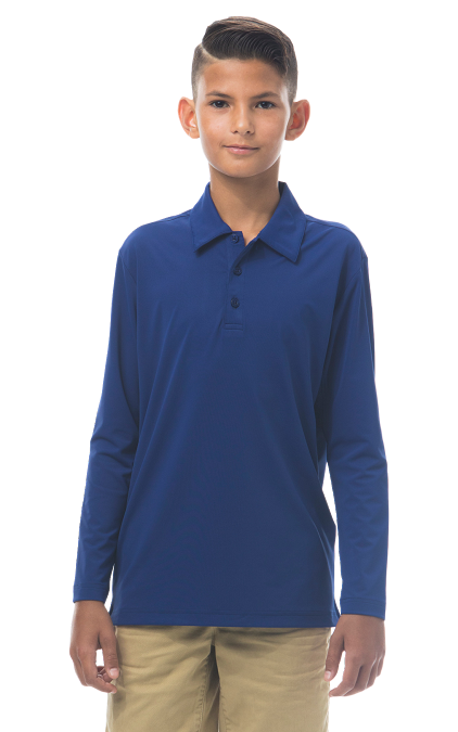900829 Boy's Long Sleeve Polo. Submarine Blue