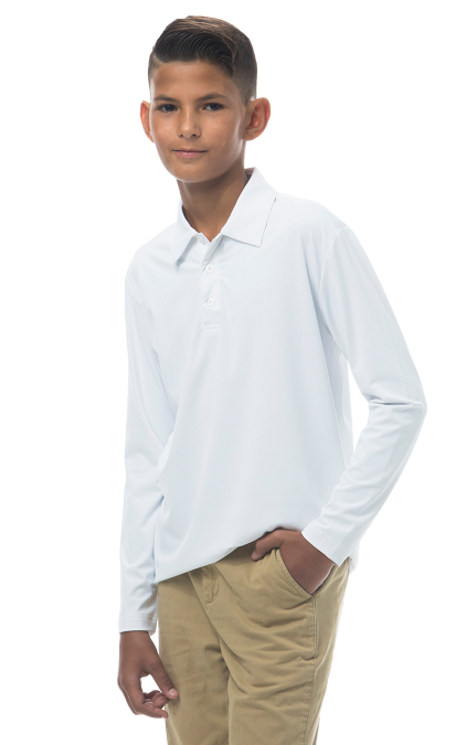 900829 Boy's Long Sleeve Polo. White
