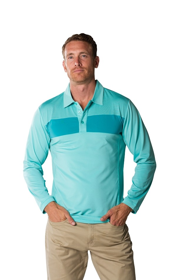 900826 Men's SolCool® Button Polo with mesh. Mist Lagoon