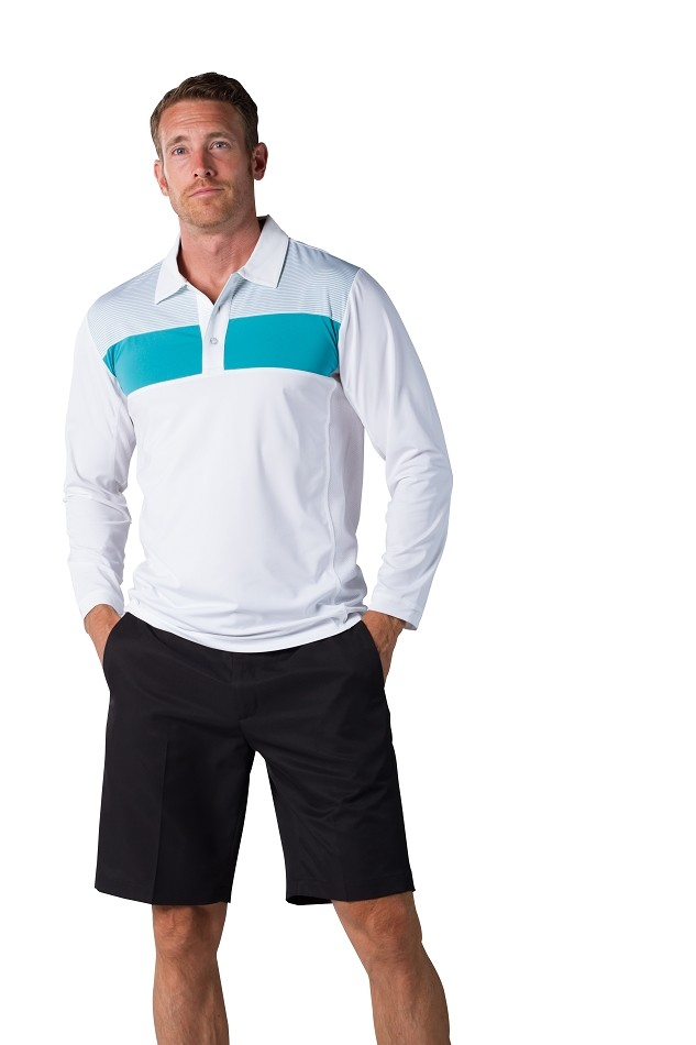 900826 Men's SolCool® Button Polo with mesh. White Lagoon