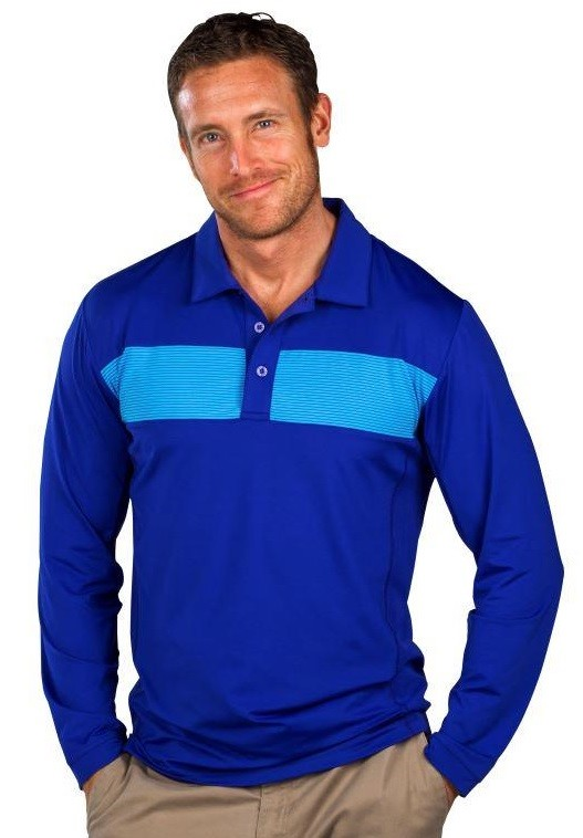 900824X Men's SolCool® Button Polo with mesh. Cobalt Insets