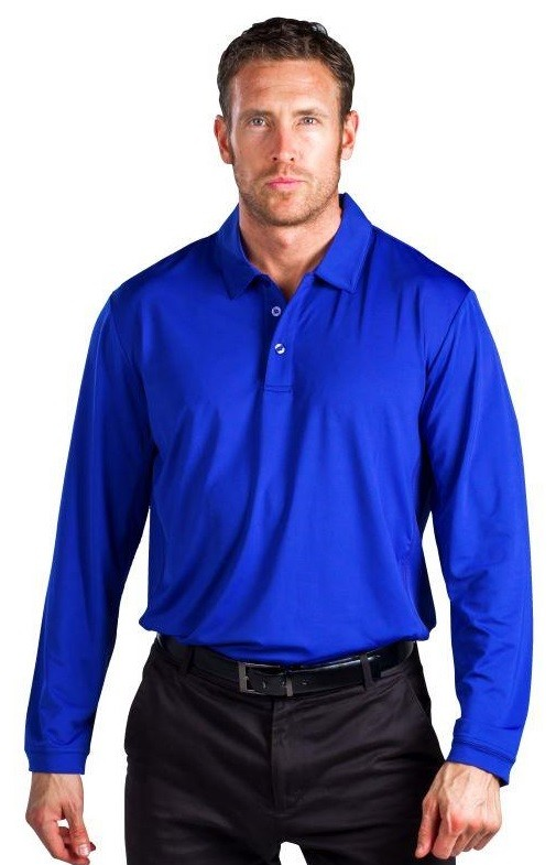 900824 Men's SolCool Button Polo with mesh. Cobalt
