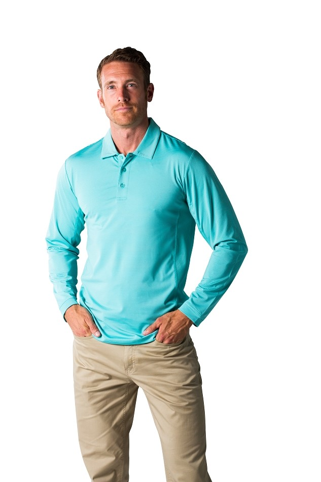 900824S SanSoleil Stripe Men's SolCool® Button Polo with mesh. Mist Lagoon Stripe