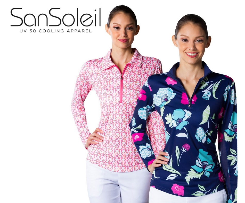 900419 SOLTEK L/S PRINT MOCK LOOPED PINK and 900463 SOLCOOL PRINT MOCK POPPIES Two Tops for $99