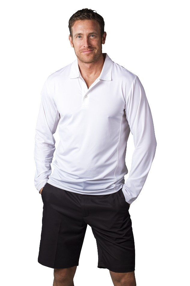 900824 Men's SolCool Button Polo with mesh. White