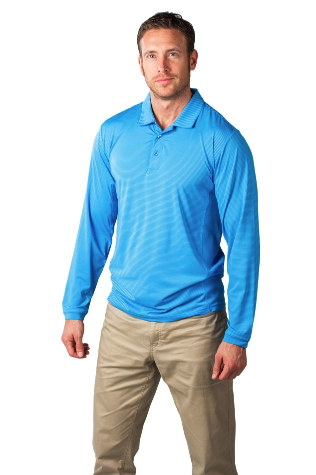 900824s Men's SolCool® Button Polo with mesh. Light Blue Stripe