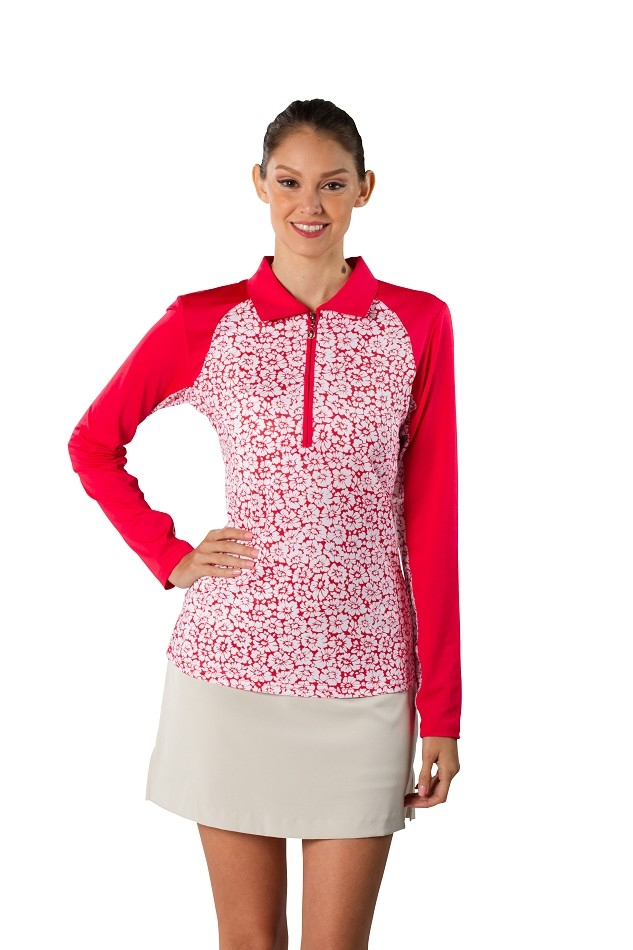 900468 SanSoleil Printed SolCool Color Block Polo.  Daisy Red