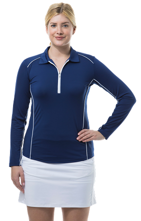 900443 SunGlow Zip Polo with Piping. Navy with White