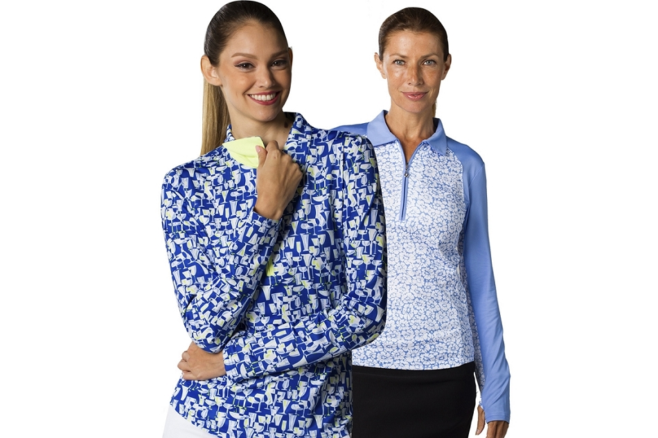 900462 Solcool Print Polo Last Call Blue and 900468 Solcool Print Polo W/ Solid Trim Gerber Daisy Cornflower